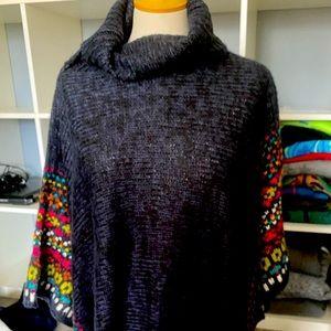 Women's poncho style sweater